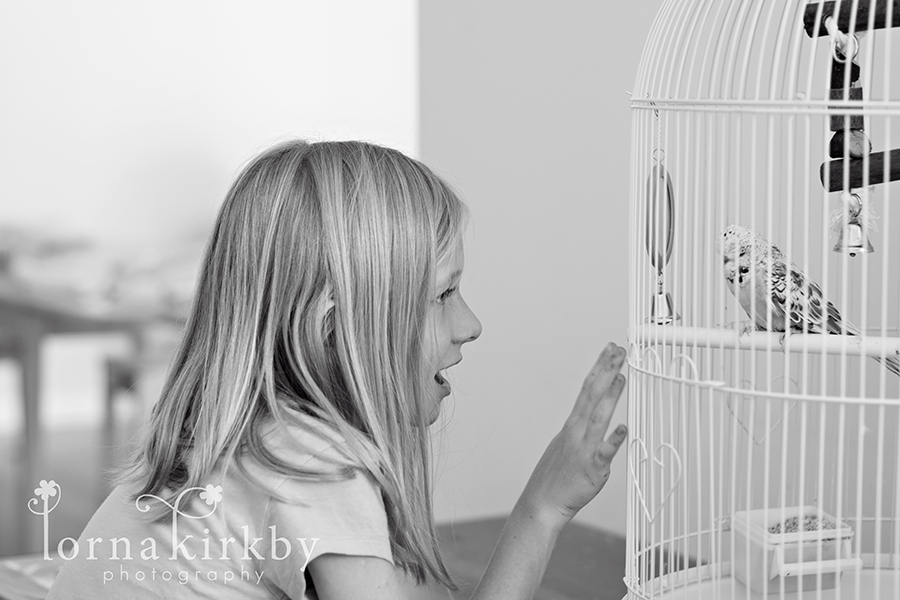My daughter Jenna sings to her bird Skye, child photography
