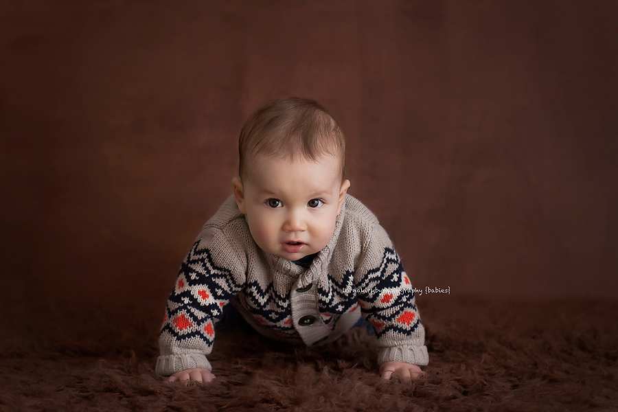 Cute photograph baby boy dressed for success.