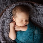 Stunning pic of newborn boy in gray blanket from the Hugo collection by Lorna Kirkby, a Melbourne photographer specializing in baby, child, maternity and newborn photography.