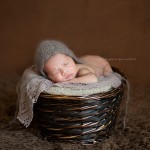 Photograph of a newborn baby in a basket.