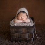 Peaceful baby girl in a basket. Premier newborn photography, the Nicole Collection, Part 3.