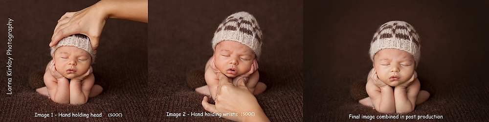 An image showing the three steps to creating composite newborn photographs taking the utmost care in terms of safety.