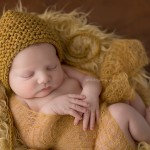 Isaac in mustard nest for this newborn session.