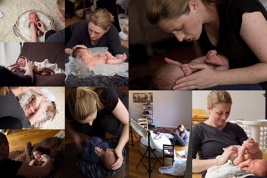 A collage of behind the scenes with a newborn photographer in action.