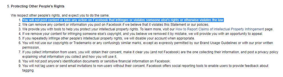 Facebook Terms, Number 5